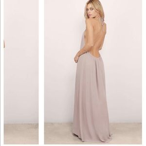 Backless taupe halter maxi dress